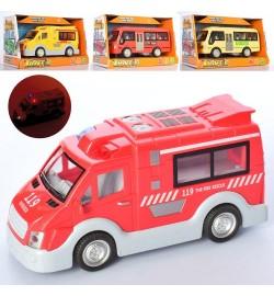 Машина ST66-21-29-31 (36шт) инер-я,17см,звук,свет,3вид(1в-автоб),на бат(табл),в кор-ке, 22-12,5-10с