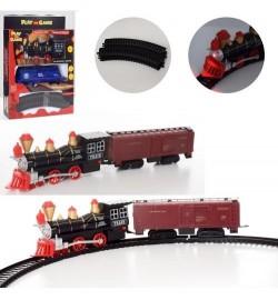 Железная дорога локомотив16см, вагон, звук, свет, 2вида, на бат-ке, в кор-ке, 20-28,5-5,5см
