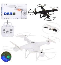 Квадрокоптер D68 (8шт) р/у2,4G,аккум,37,5см,свет,USBзарядн,Wi-Fi,зап.лопасти,2цв,в кор,46-30-13см
