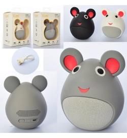 Колонка MB-M919 (24шт) мишка 10см, Bluetooth, USBшнур, від мережі, 3цвета, в кор-ке, 12-16-8,5см
