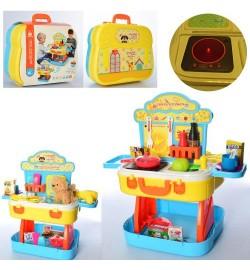 Набор игровой W813A (8шт) 2вида(кухня/парикмахер),зв,св,бат, чемодан,в карт.об,в кульке,32-27-13см