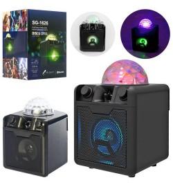 Колонка SG-1 626 (12шт) 18-26см, диско-куля, аккум, bluetooth, MP3, TF, USBзарядн, в кор-ке, 20-28-20с