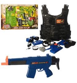 Набор военного 8635-36 (18шт) бронежилет,автомат,пистолет,бинокль,2вида,в кор-ке,70,5-38-5см