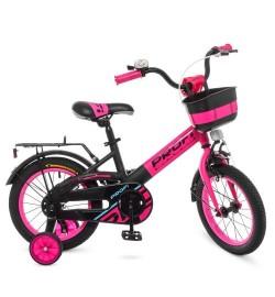 Велосипед детский PROF1 14д. W14115-7 (1шт) Original,розово-черный (мат),крылья,звонок,доп.колеса