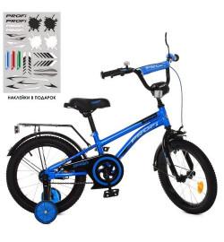 Велосипед детский PROF1 16д. Y16212 (1шт) Zipper, сине-черный,звонок,доп.колеса