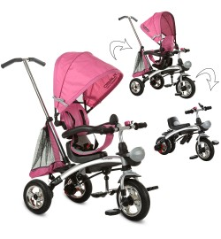 Велосипед M 3212A-4 (1шт)три кол.резина,трансформер(беговел),поворот,быстросъем.колеса,розовый