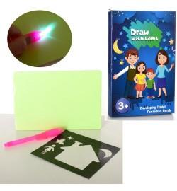 Досточка C666 (96шт) для рисования, рисуй светом, маркер-фонарик,свет,бат-таб, в кор-ке,15-22-2см