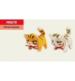 Мягкая игрушка M0670 (100шт) кошка, свет, звук, 2 вида, р-р игрушки - 17*12 см, в пакете 18*16см
