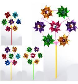 Ветрячок M 6234 (300шт) цветок, диам. 28см, на палке 28см, фольга, 2вида