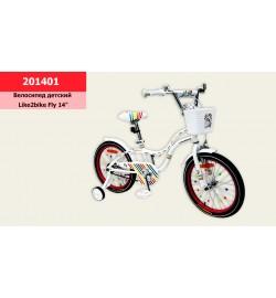 Велосипед детский 2-х колес.14'' (1шт) Like2bike Fly, белый, рама сталь, со звонком, руч.тор