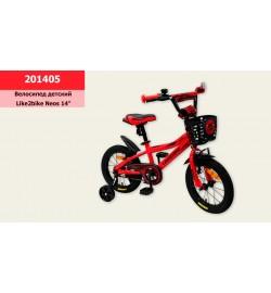 Велосипед детский 2-х колес.14''  (1шт) Like2bike Neos, красный, рама сталь, со звонком, руч.