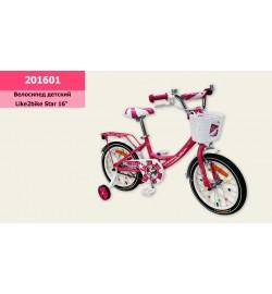 Велосипед детский 2-х колес.16'' (1шт) Like2bike Star, розовый, рама сталь, со звонком, руч.