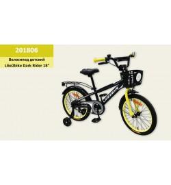 Велосипед детский 2-х колес.18'' Like2bike Dark Rider, чёрный/жёлтая, рама сталь, со з
