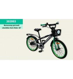 Велосипед детский 2-х колес.20'' Like2bike Dark Rider, чёрный/зелёная, рама сталь, со