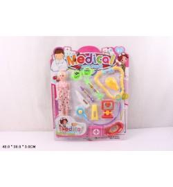 Доктор T2082-1 (48шт/2) с куклой, 10 инструментов(шприц,стетоскоп,термометр…),на планшетке48*38*3см