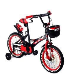 Велосипед двухколесный 16д 1687-16 черно-красный светящиеся колесо с корзинкой