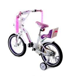Велосипед двухколесный  16д Алюминий 1701-16 бело-розовый
