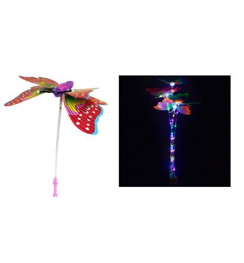 Светящаяся бабочка с подвиж. крыльями на палочке SB100, муз., свет, 71см, на батар. АА
