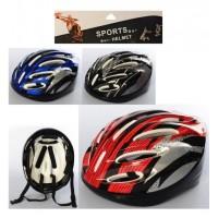 Шлем MS 3107 (42шт) 25-21-13cм, размер L, велосипедный, 11отверстий, 3цвета, в кульке, 25,5-38-14см