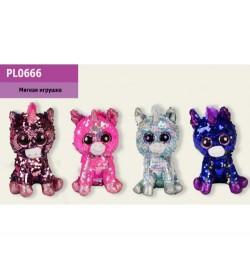 Мягкая игрушка PL0666 (48шт) глазастики-пайетки, 4 цвета, единорог 16 см, в пакете
