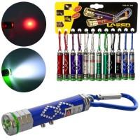 Фонарик MK 4301-3 (240шт) 7см,брелок, свет, лазер, бат(таб), 12шт(6цв) на листе, в кульке,18-18-1см