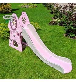 Горка SLW-G-8 (1шт) баскетбольное кольцо, ш71-г186-в105см, пластик, серо-розовый