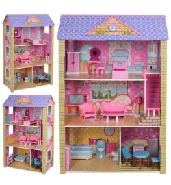 Деревянная игрушка Домик MD 2009 (1шт) для куклы,118-78-36см, 3этажа,мебель,в кор-ке,39,5-131-11,5с