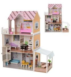 Деревянная игрушка Домик MD 2150 (1шт) для куклы,103-123-31см, 3этажа, мебель, в кор-ке, 110-42-12с