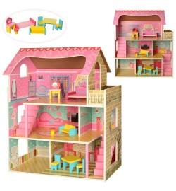 Деревянная игрушка Домик MD 2203 (1шт) для куклы, ш61-в70-г30см,3этажа,мебель, в кор-ке,26-85-9см