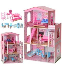 Деревянная игрушка Домик MD 2413 (1шт) ш75-в116-г32,5см, 3этажа, мебель, в кор-ке, 45-88-12см