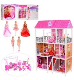 Домик 66885 (3шт) 94-141,5-136см, мебель, кукла 5шт,28см, в кор-ке,95-36-14,5см