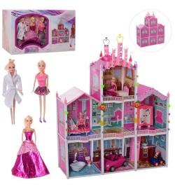 Домик 66926 (3шт) 118-139-32см, 3этажа, мебель, кукла 3шт,29см, в кор-ке, 57-36-26см