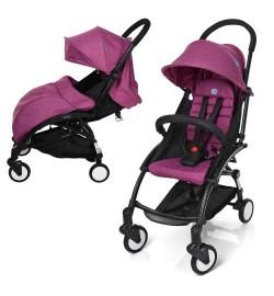 Коляска детская M 3548-9-2 YOGA (1шт) прогулочная,книжка,колеса4шт.,карман, фиолет