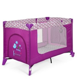 Манеж ME 1016 SAFE Purple Flowers (1шт) детский,2колеса,вход-змейка,карман,кольцо2шт,пурпурный