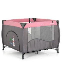 Манеж ME 1030 ARENA Pink Len (1шт) квадратный детский,вход-змейка,карман,кольцо2шт,сер-розовый
