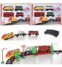 Железная дорога локомотив19см, вагон 2шт,мост,39предм,зв,св,3вида, бат, в кор-ке,55-32-6см