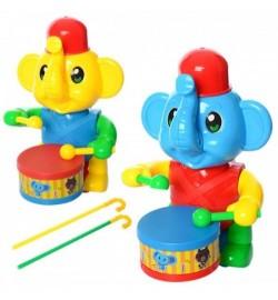 Каталка 0356 (72шт) на палке 40см, слоник, барабанщик, 2цвета, в кульку, 21-12-13см