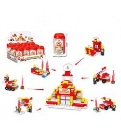 Конструктор 760 (108шт) пожарн,транспорт/здание,фигурка,колба12см,12шт(6видов) в дисплее,27-12-20см
