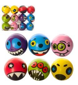 Мяч детский фомовый MS 1022  (360шт) 6,5см, микс видов(смайл,монстр)