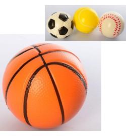 Мяч детский фомовый MS 3090 (240шт) 7см, 4вида, упаковка 12шт (кулек), 21-28-7см