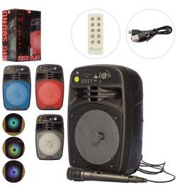 Колонка X16525 (12шт) 6,5дюйм, пульт,аккум,10W,Bluetooth,микроф,FM,TFсл,свет,микс ц,кор,21-34-18,5с
