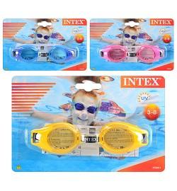Очки для плавания 55601 (12шт) на листе, 19,5-12,5см с3 до 8 лет
