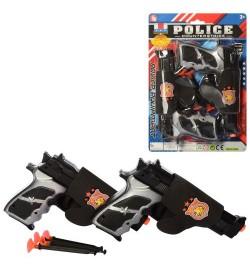 Пистолет 1414-2 (144шт) 2шт, 20см, кобура, пули-присоски4шт, 31-22-3см