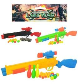 Ружье 118-4-5-6 (96шт) 50см, мягкие пули4шт, пули-шарики, кегли, 3вида, в кульке, 15-58-5см