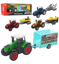 Трактор AS-2526 (72шт) АвтоСвіт,металл,инер,с прицепом,18,5см, транспорт,микс вид, в кор,24-7,5-5см