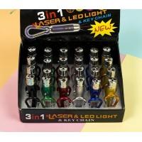 Фонарик+лазер+ ультрафиолет 24шт в коробке