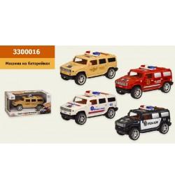 Машина батар 3300016 (48шт / 2) 4 види, світло, звук, в кор 22 * 12 * 11см, р-р іграшки - 17 * 7.5 * 8 см