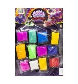 Набір легкого стрибаючого пластиліну ТМ Moon Light Clay 12 кольорів Неон пластилин тесто