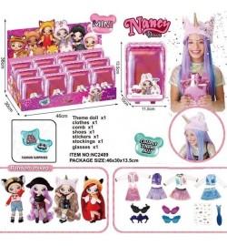 Ігровий набір NANCY DOLLS NC2409 (72шт) лялька з плюш хутра шапкою тваринного, 12 шт в диспл боксі