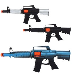 Автомат M9-1-2-3  (168шт) 30см, трещотка, искрит, 3вида, в кульке, 30-12-4см